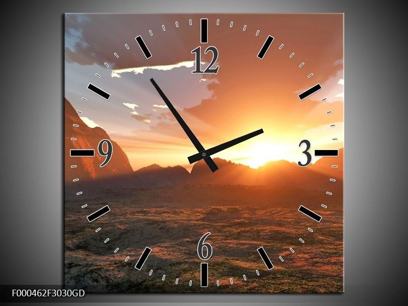 Wandklok op Glas Zonsondergang | Kleur: Geel, Grijs, Bruin | F000462CGD