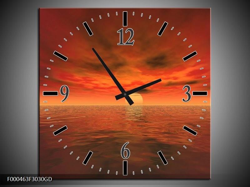 Wandklok op Glas Zonsondergang | Kleur: Rood, Zwart, Geel | F000463CGD