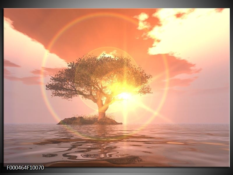 Glas schilderij Zonsondergang | Geel, Paars, Wit