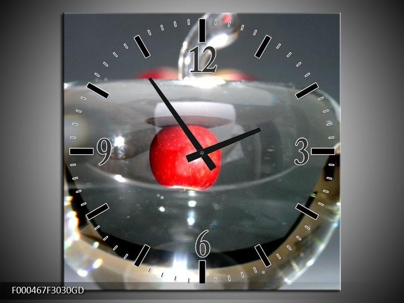 Wandklok op Glas Appel | Kleur: Rood, Grijs, Zilver | F000467CGD