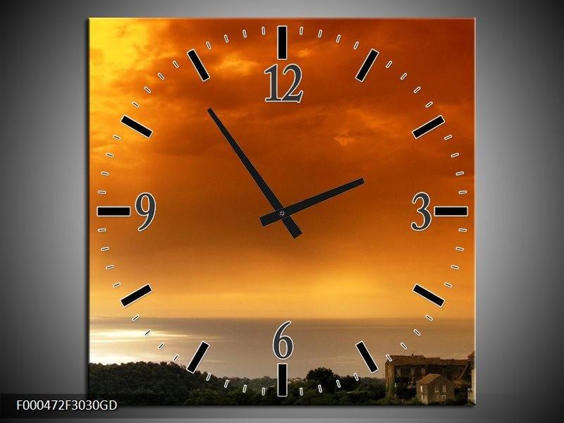 Wandklok op Glas Zonsondergang | Kleur: Oranje, Geel, Grijs | F000472CGD