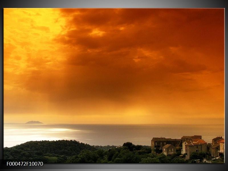 Glas schilderij Zonsondergang | Oranje, Geel, Grijs