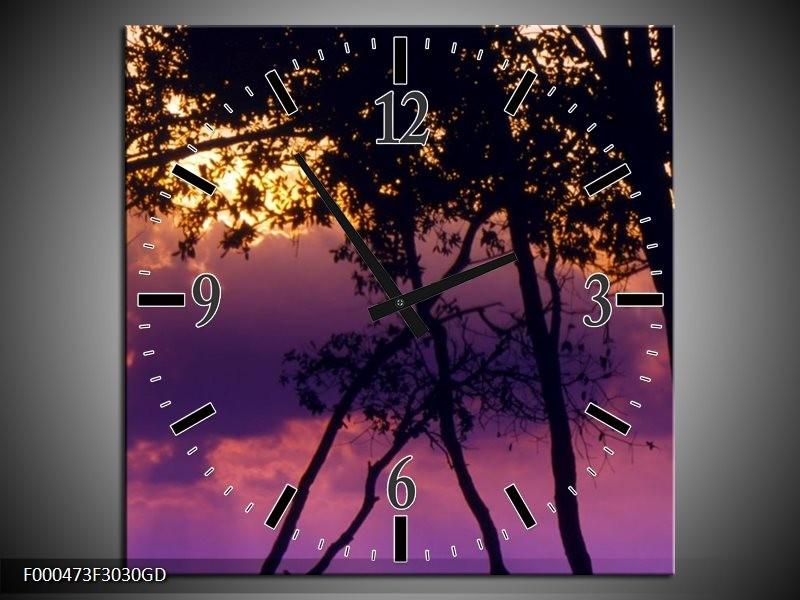 Wandklok op Glas Bomen | Kleur: Paars, Zwart, Geel | F000473CGD