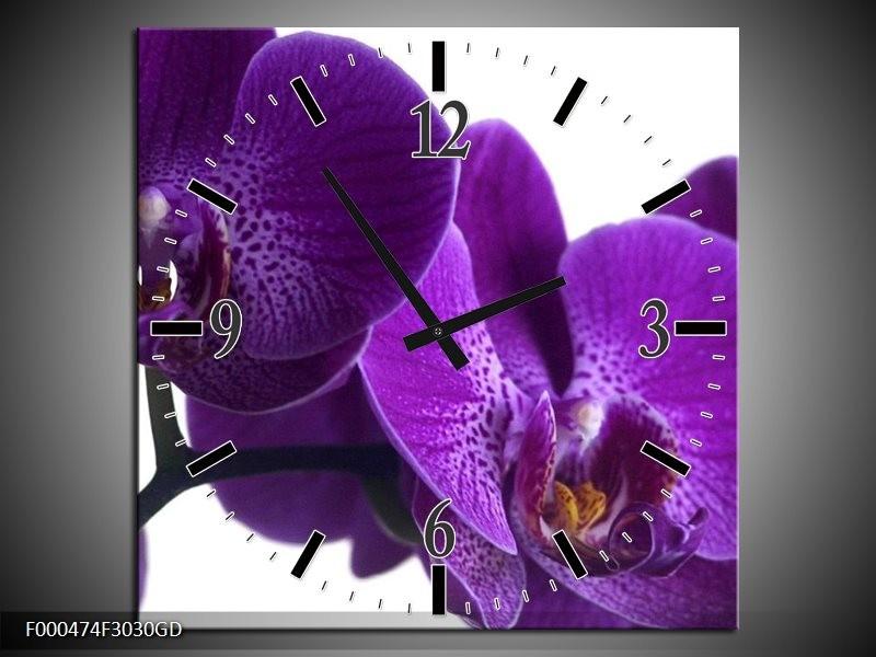 Wandklok op Glas Orchidee | Kleur: Paars, Wit, Zwart | F000474CGD