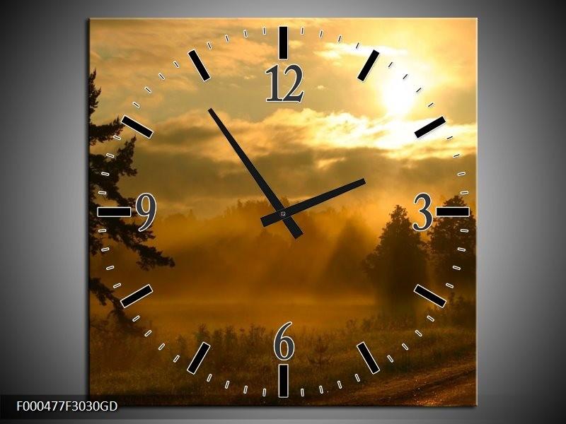 Wandklok op Glas Zonsondergang | Kleur: Geel, Zwart, Grijs | F000477CGD