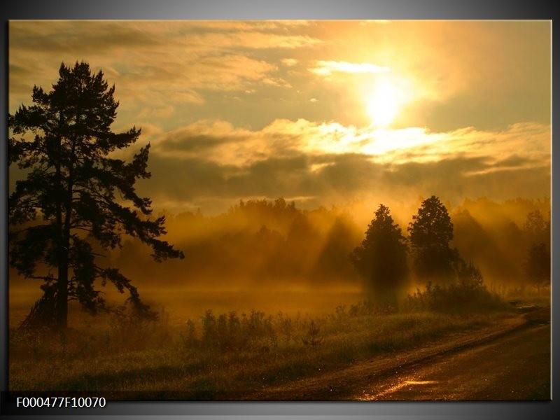 Glas schilderij Zonsondergang | Geel, Zwart, Grijs
