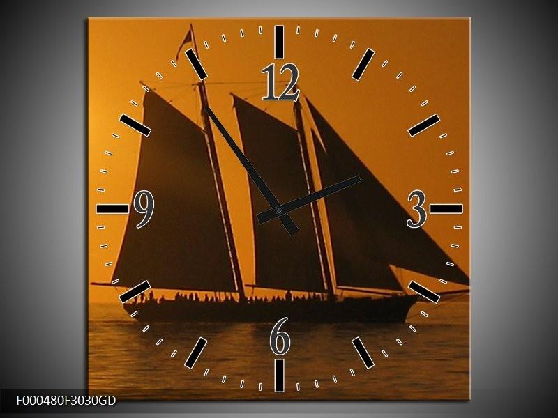 Wandklok op Glas Boot | Kleur: Geel, Bruin, Oranje | F000480CGD