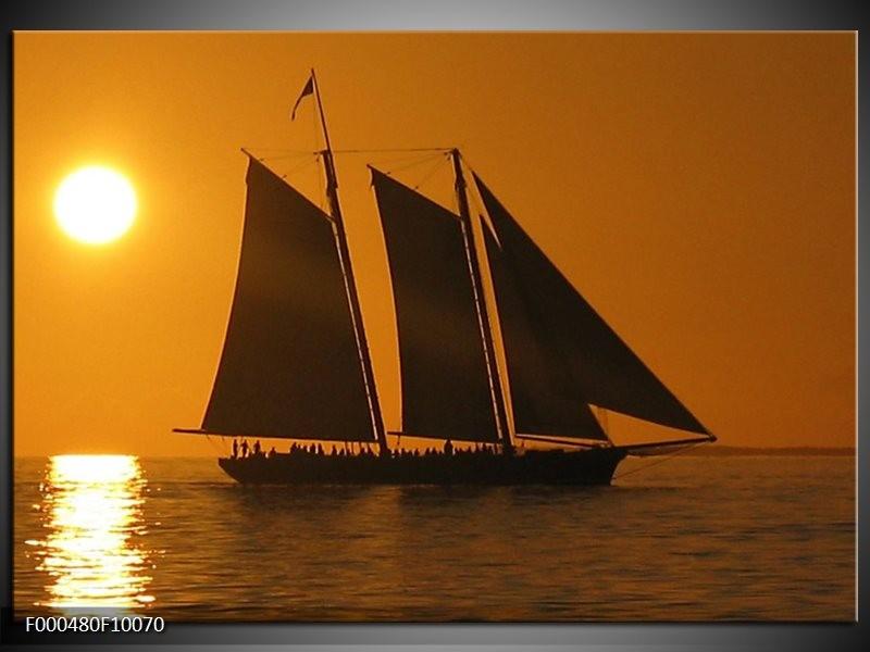 Glas schilderij Boot   Geel, Bruin, Oranje