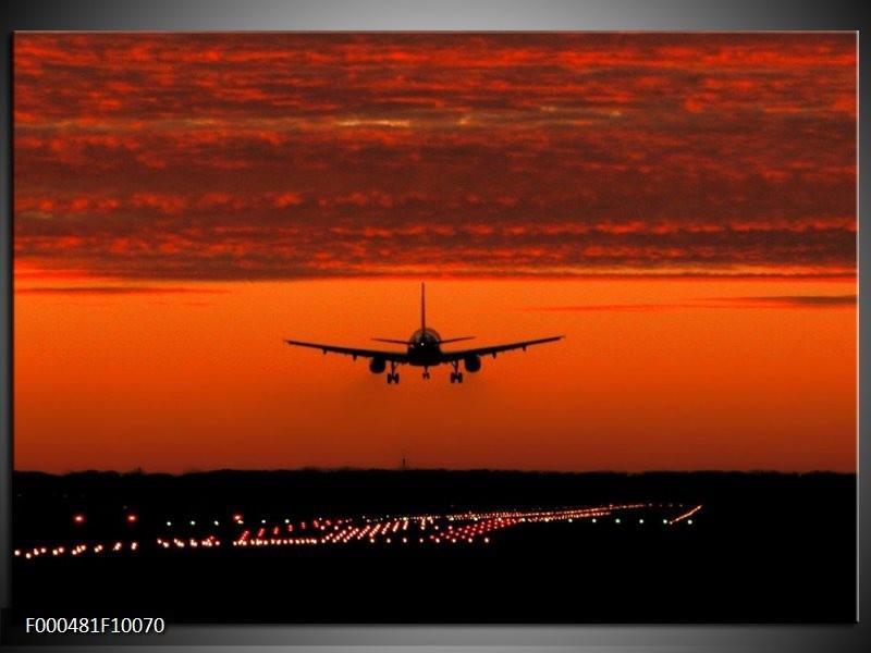 Glas schilderij Vliegtuig | Rood, Zwart, Grijs