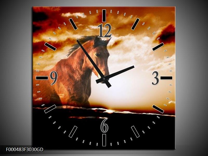 Wandklok op Glas Paard | Kleur: Grijs, Wit, Zwart | F000483CGD