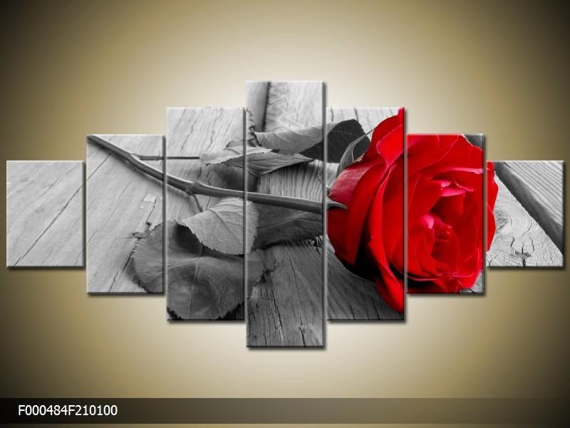 Canvas schilderij Roos | Rood, Grijs | 210x100cm 7Luik