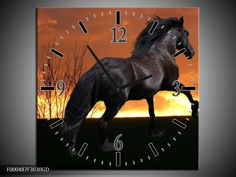 Wandklok op Glas Paard | Kleur: Zwart, Geel, Bruin | F000487CGD