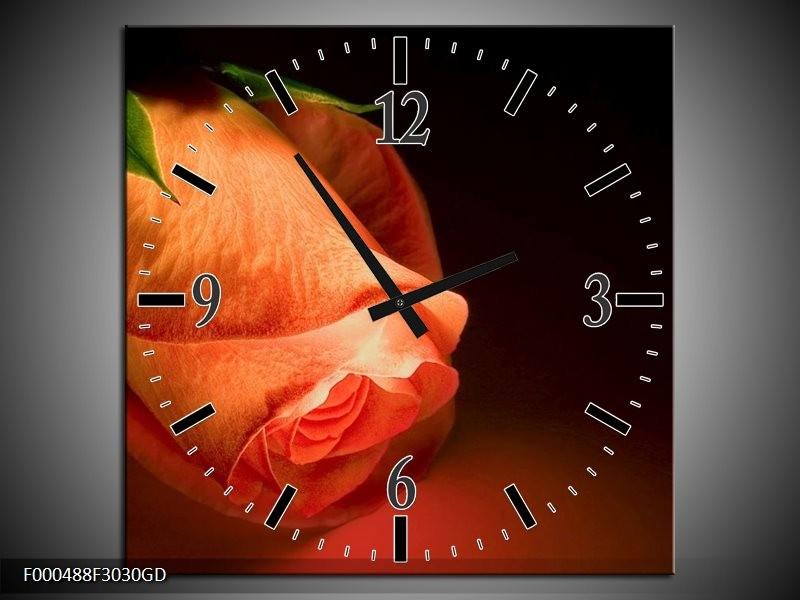 Wandklok op Glas Roos | Kleur: Oranje, Zwart, Groen | F000488CGD