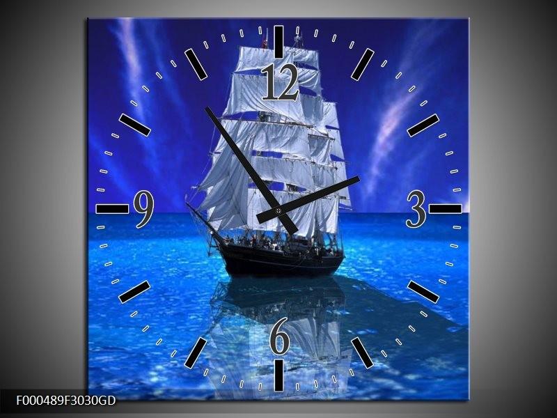 Wandklok op Glas Zeilboot | Kleur: Blauw, Wit, Zwart | F000489CGD