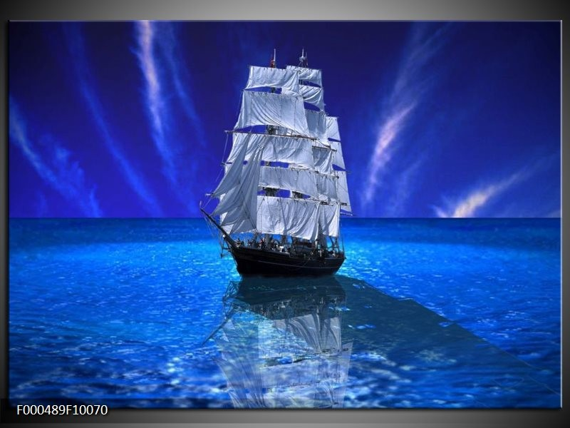 Glas schilderij Zeilboot | Blauw, Wit, Zwart