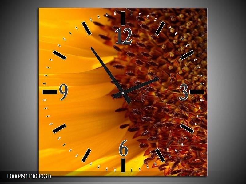 Wandklok op Glas Bloem | Kleur: Geel, Bruin, Zwart | F000491CGD