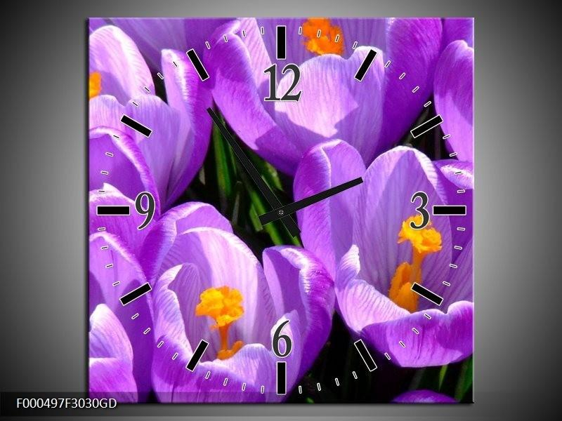 Wandklok op Glas Krokus | Kleur: Paars, Geel, Groen | F000497CGD