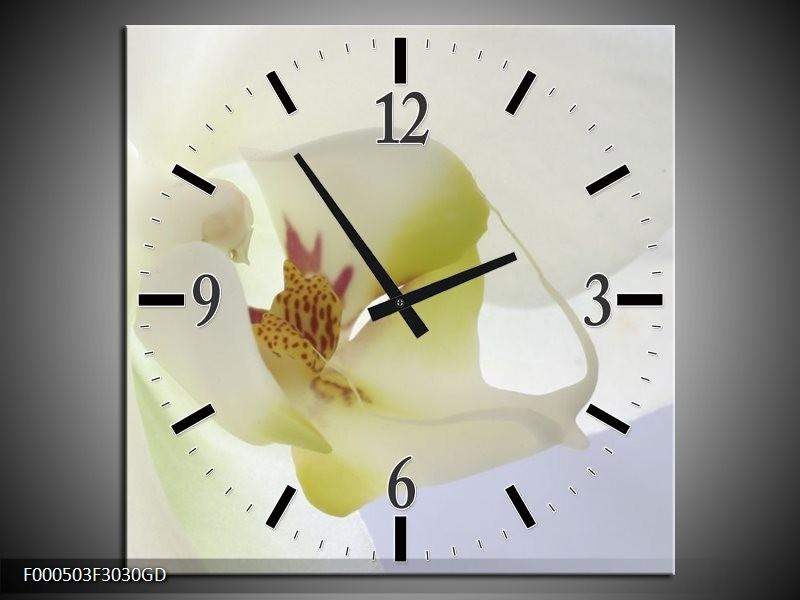 Wandklok op Glas Orchidee   Kleur: Wit, Geel, Groen   F000503CGD