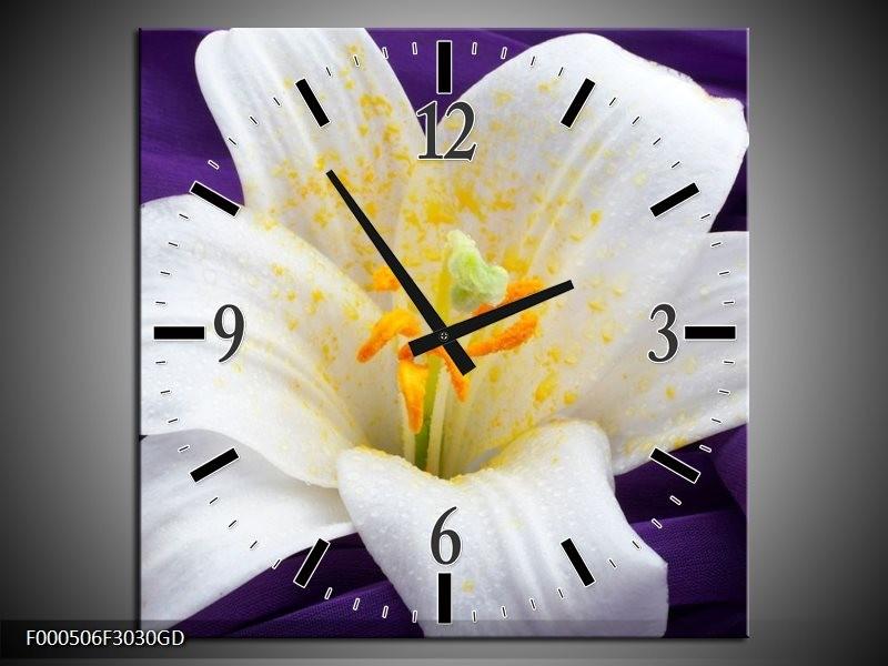Wandklok op Glas Bloem | Kleur: Wit, Geel, Paars | F000506CGD