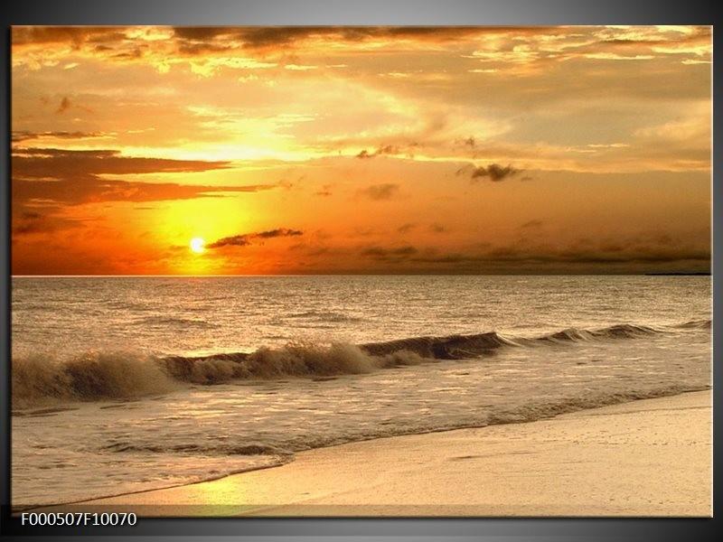 Glas schilderij Zee | Geel, Grijs, Oranje