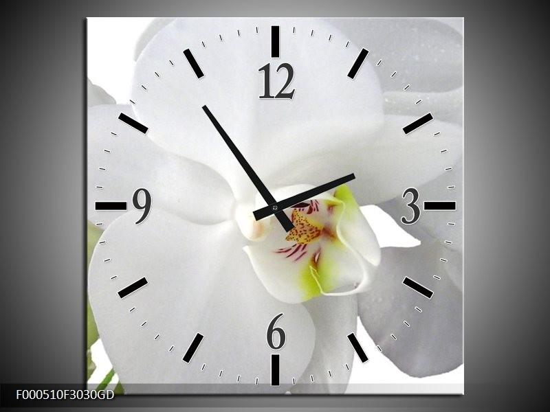 Wandklok op Glas Orchidee | Kleur: Wit, Groen | F000510CGD
