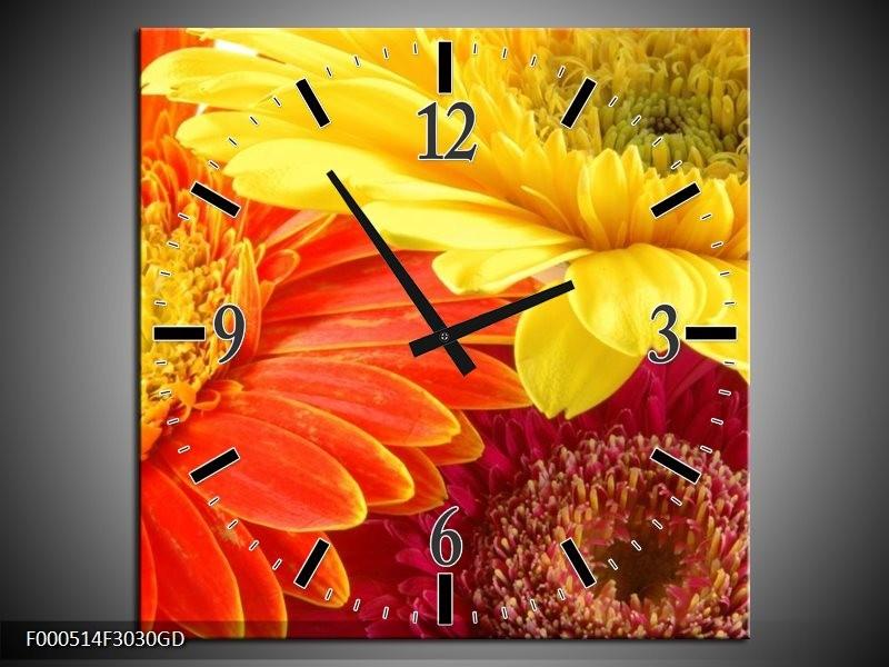 Wandklok op Glas Bloem | Kleur: Geel, Oranje, Rood | F000514CGD