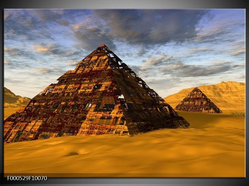 Glas schilderij Piramide | Geel, Zwart, Blauw