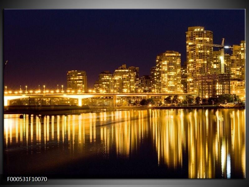 Glas schilderij Steden | Geel, Zwart, Wit