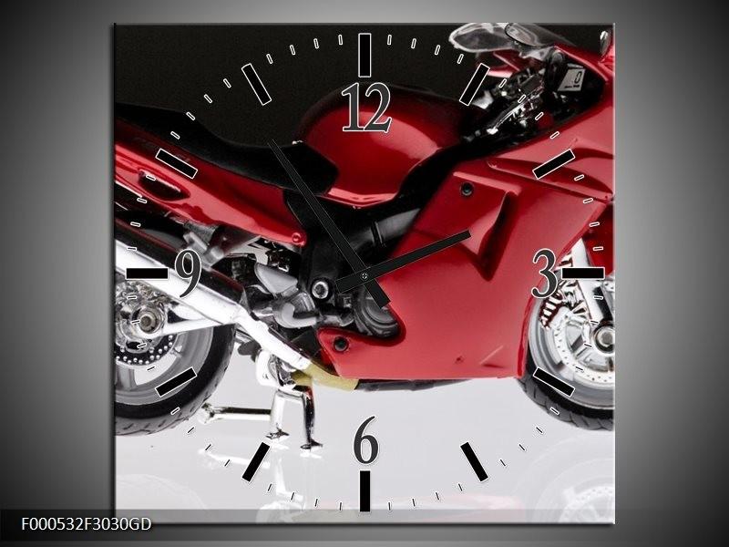 Wandklok op Glas Motor   Kleur: Rood, Zwart, Wit   F000532CGD