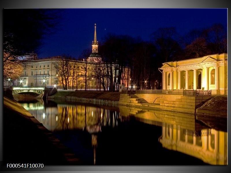 Glas schilderij Stad | Geel, Zwart, Bruin