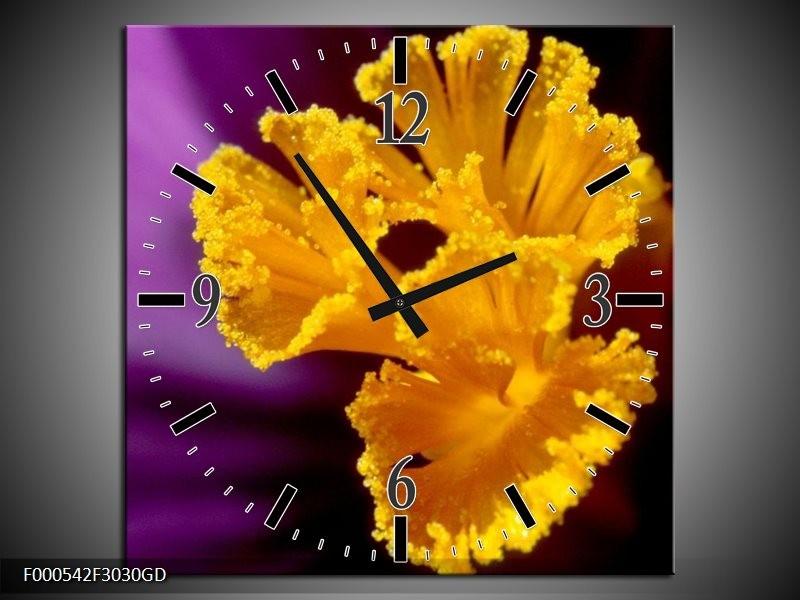 Wandklok op Glas Bloem | Kleur: Paars, Geel, Zwart | F000542CGD