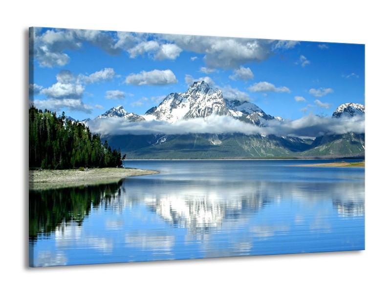 Canvas schilderij Bergen | Wit, Blauw, Grijs | 140x90cm 1Luik