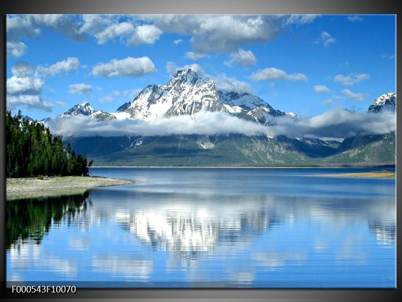 Glas schilderij Bergen   Wit, Blauw, Grijs