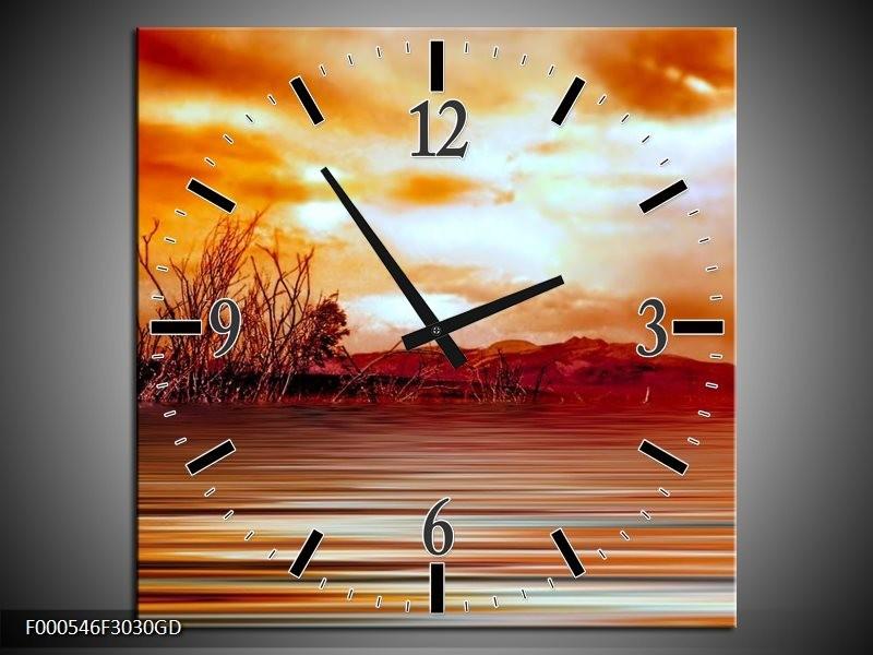 Wandklok op Glas Landschap | Kleur: Geel, Wit, Bruin | F000546CGD