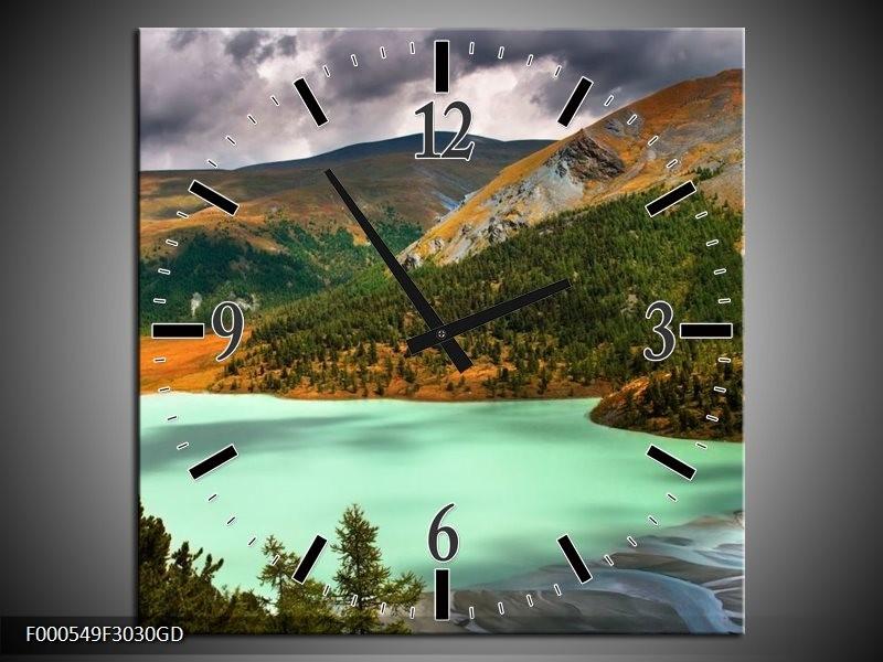 Wandklok op Glas Bergen | Kleur: Groen, Geel, Grijs | F000549CGD