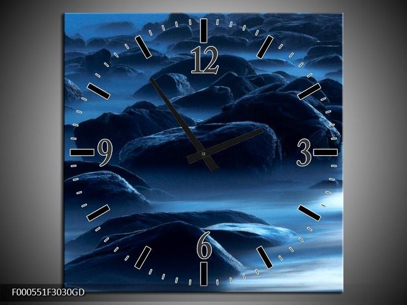 Wandklok op Glas Stenen | Kleur: Zwart, Blauw, Grijs | F000551CGD