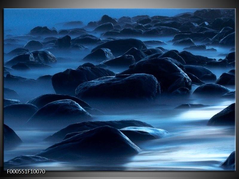 Glas schilderij Stenen   Zwart, Blauw, Grijs