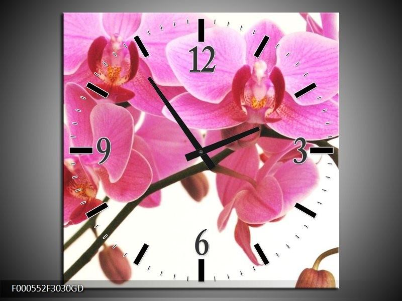 Wandklok op Glas Orchidee | Kleur: Rood, Wit, Zwart | F000552CGD