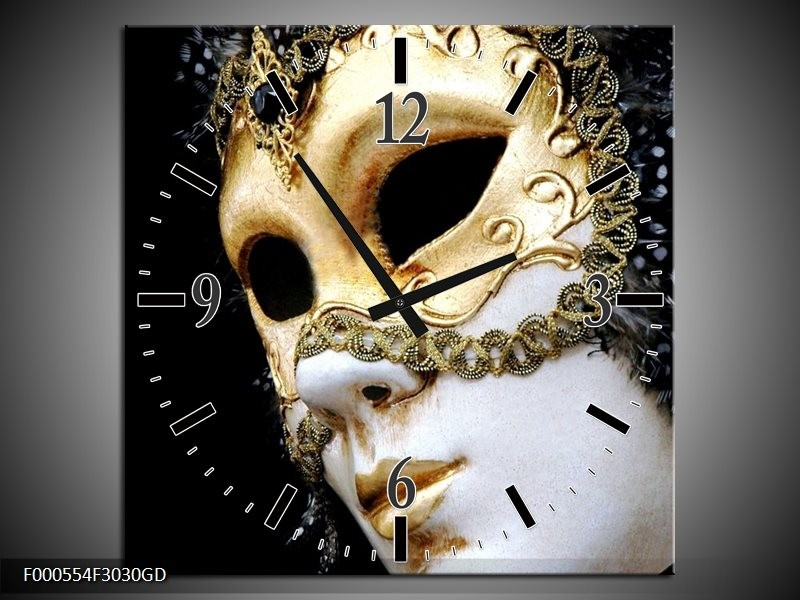 Wandklok op Glas Masker | Kleur: Wit, Goud, Zwart | F000554CGD