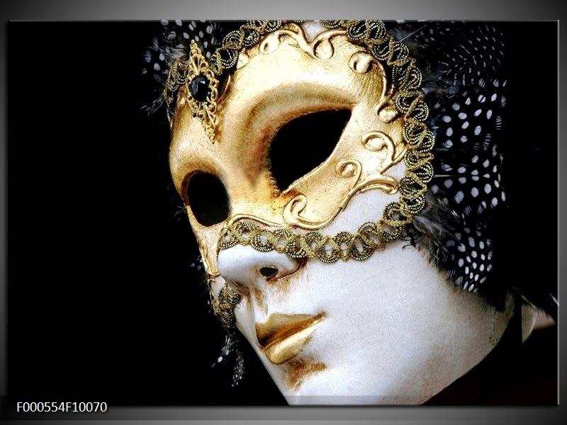 Glas schilderij Masker | Wit, Goud, Zwart