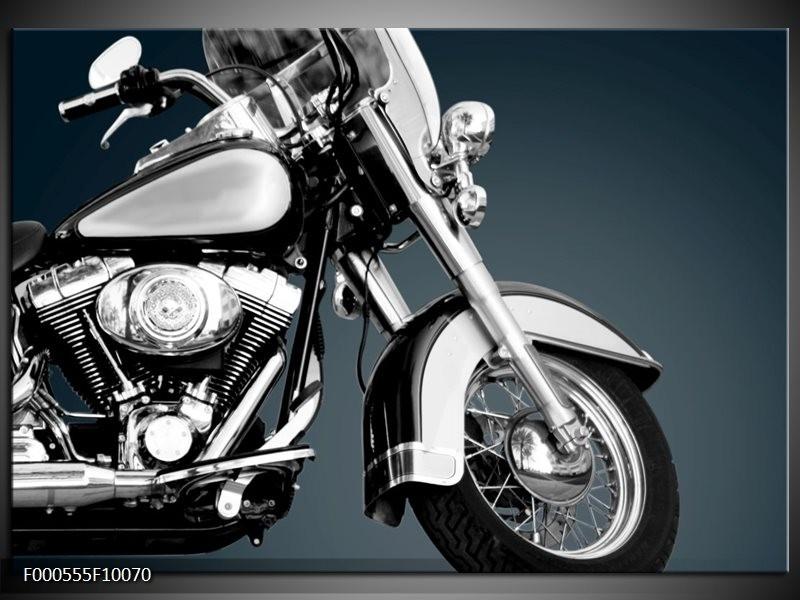 Glas schilderij Motor | Zilver, Wit, Zwart