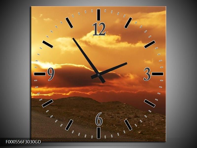 Wandklok op Glas Zonsondergang | Kleur: Geel, Bruin, Grijs | F000556CGD