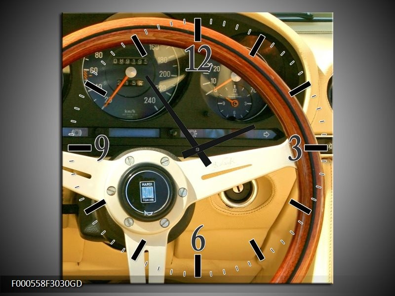 Wandklok op Glas Auto | Kleur: Geel, Bruin, Zwart | F000558CGD
