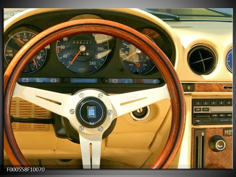 Glas schilderij Auto | Geel, Bruin, Zwart