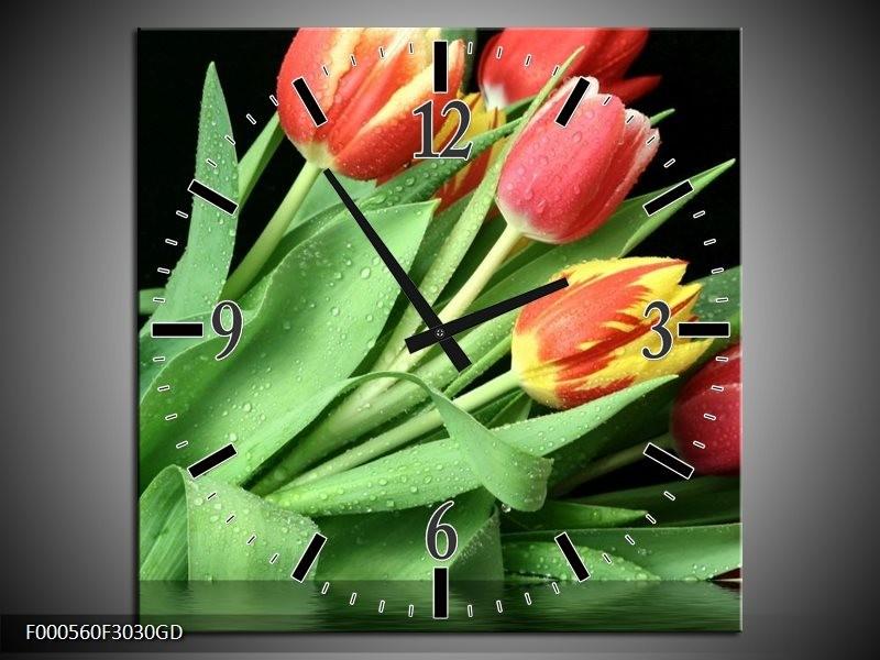 Wandklok op Glas Tulpen | Kleur: Rood, Geel, Groen | F000560CGD