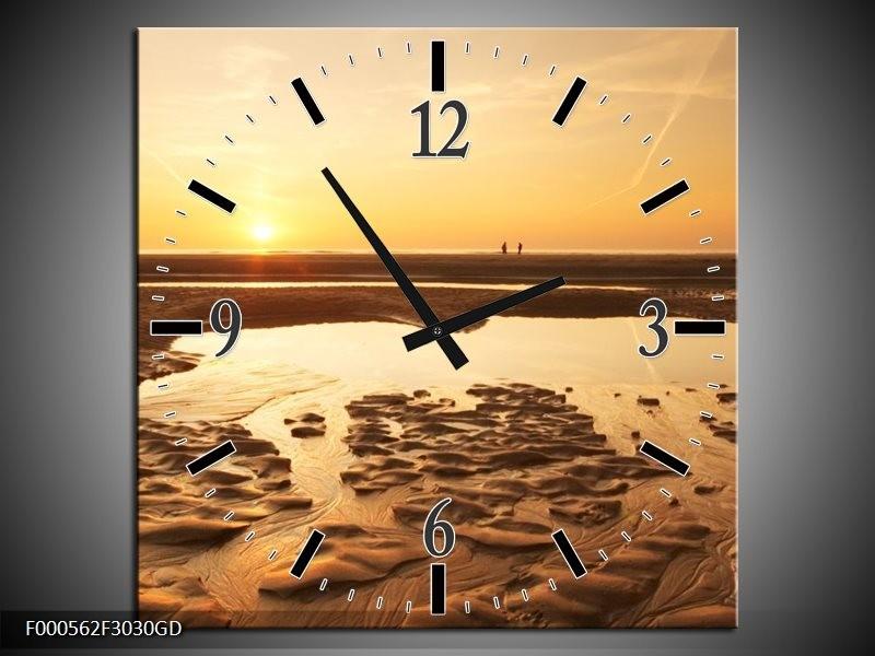 Wandklok op Glas Strand | Kleur: Bruin, Geel, Goud | F000562CGD