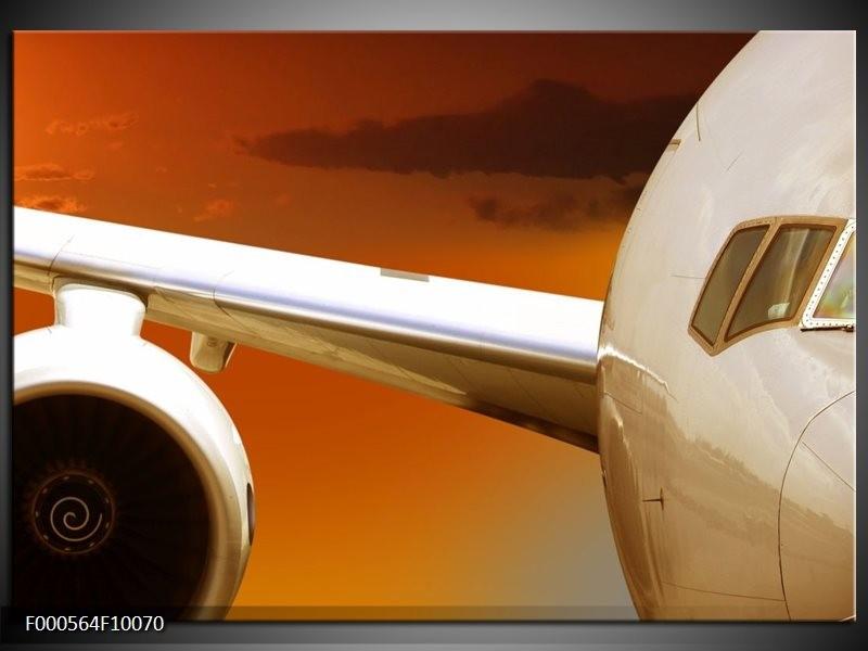 Glas schilderij Vliegtuig   Wit, Oranje, Bruin