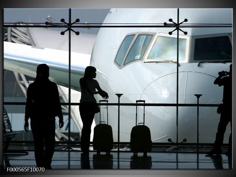 Glas schilderij Vliegtuig | Wit, Zwart, Grijs