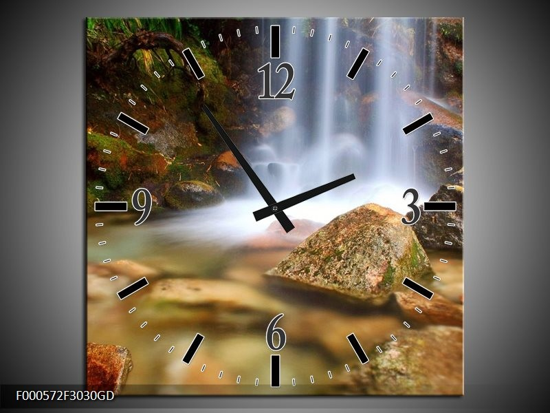 Wandklok op Glas Waterval | Kleur: Wit, Grijs, Bruin | F000572CGD