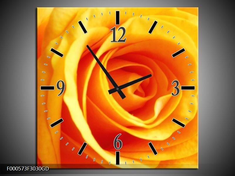 Wandklok op Glas Roos | Kleur: Geel, Oranje | F000573CGD
